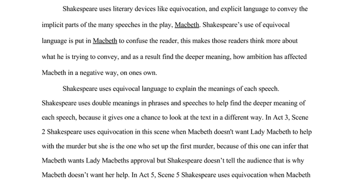 Macbeth Close Reading Essay Google Docs