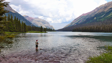 Photo: Some dude fishing on the upper end of Glenns Lake - We took a side-trip here to see Pyramid Falls, then came back through on our way to the lower end of Glenns Lake.