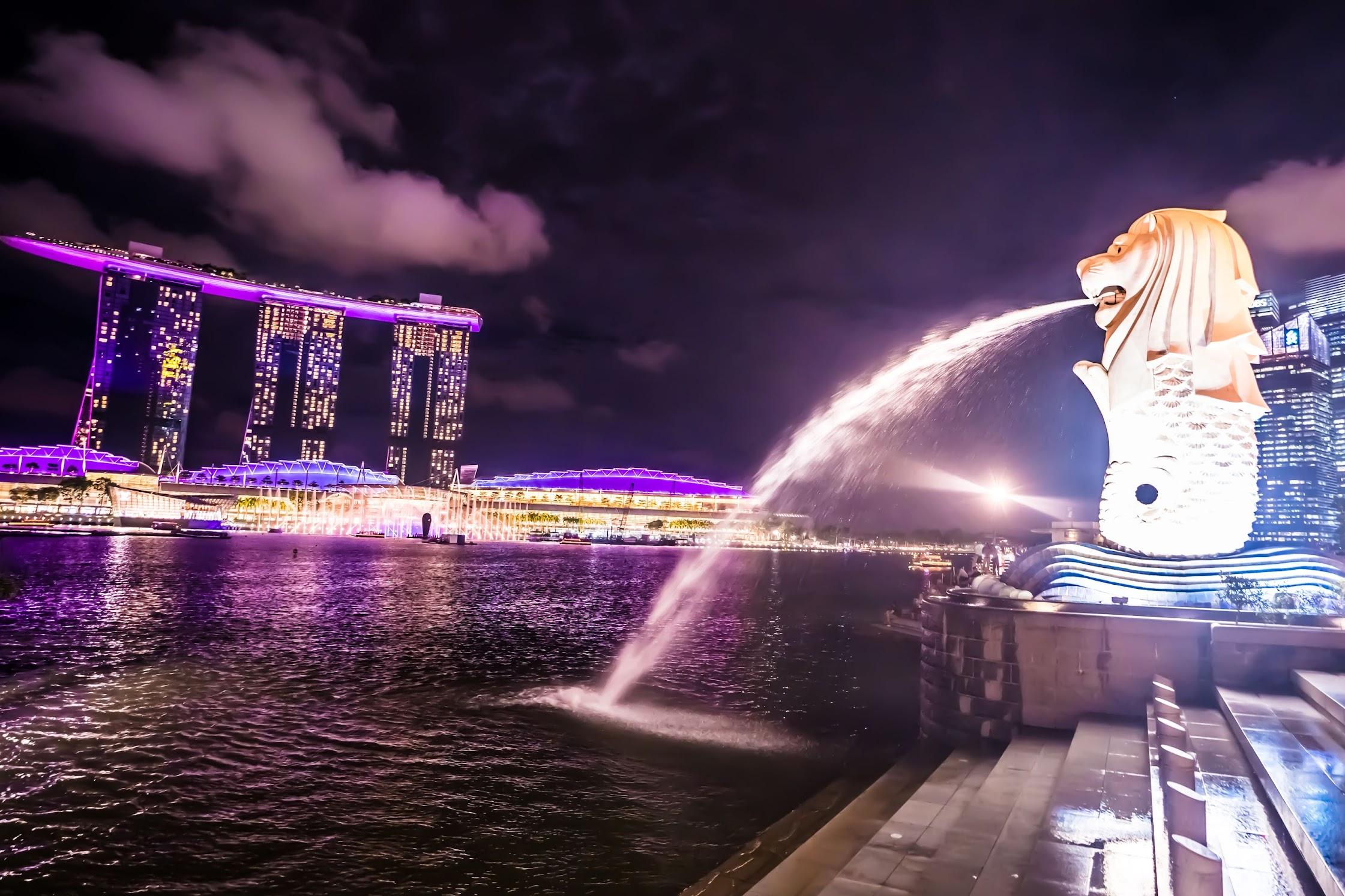 シンガポール マーライオン 夜1