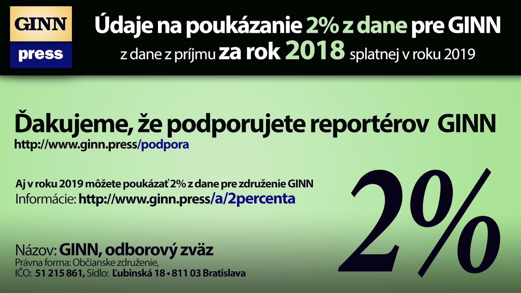 Údaje na poukázanie 2% z dane za rok 2019 pre GINN.PRESS, Martin Daňo
