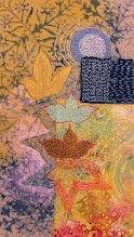 """Photo: Emanating Source 8"""" x 14"""" Hand embroidery, hand stitched bead work, cotton fabric and acrylic paint on linen.  All rights reserved c Karin Birch 2014"""