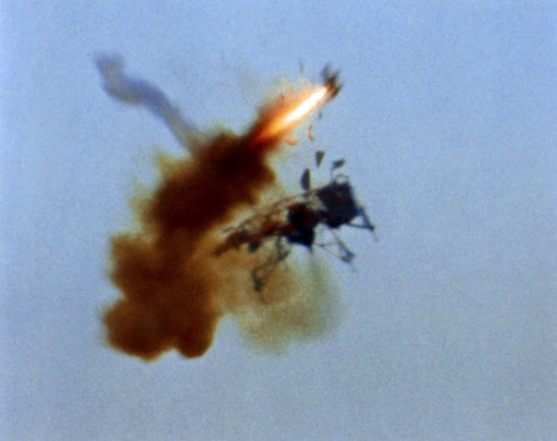 NASA pilot Algranti ejecting from LLTV-1 seconds before it crashed