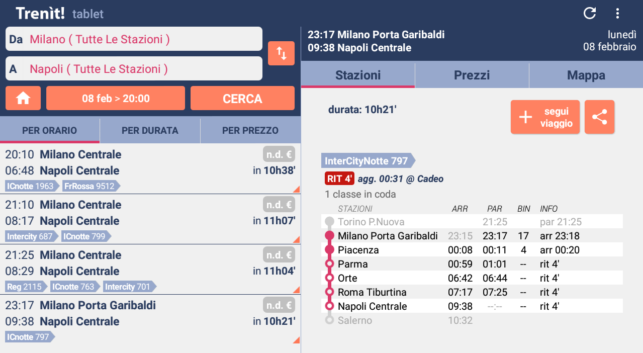 Trenit: find trains in Italy- screenshot