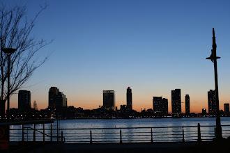 Photo: Sunset behind New Jersey from Lower Manhattan.