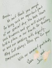 Photo: Sweet thank-you note from Tina & Toni (I removed their last names for privacy reasons) Brenda Owen - WeddingWoman.net