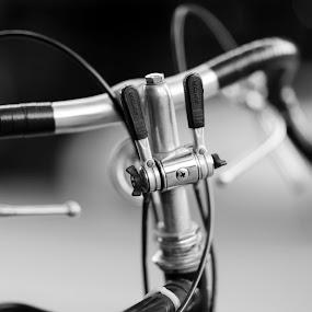 by Wesley Spear III - Black & White Objects & Still Life ( handle, sharp, handle bar, wire, blur, road, steel, grip, bicycle, bike, gear, metal, aluminum, focus, brake )