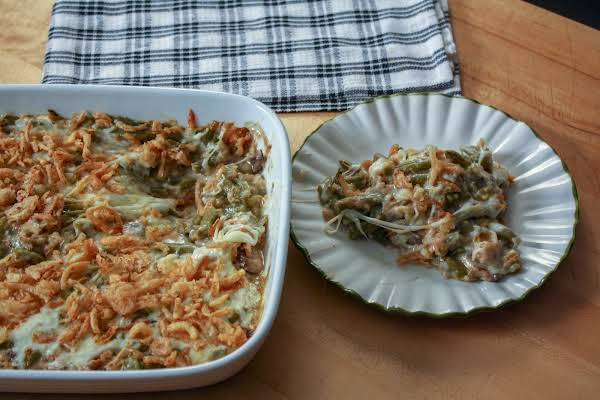 Cheesy Green Bean Casserole With Gooey Cheese.