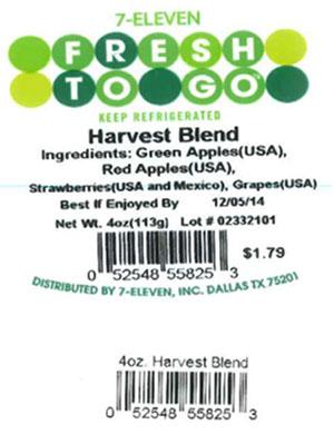 Label, 7-Eleven Fresh To Go Harvest Blend, 4 oz.