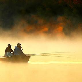 Early Morning Fishermen by Stacey Nagy - Transportation Boats ( caddo lake, fishermen, boats, sunrise, transportation, bayou )