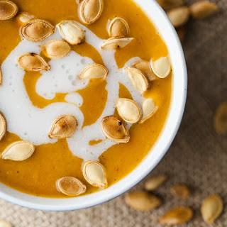 Curried Pumpkin Soup with Coconut and Pumpkin Seeds.