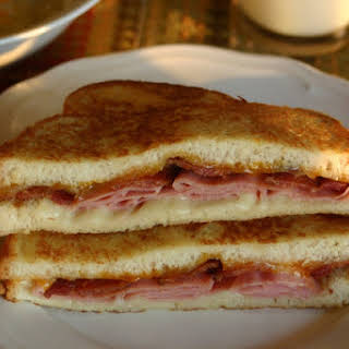 Beer Battered Grilled Ham, Bacon and Cheese Sandwich.