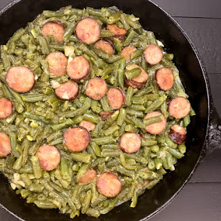 Cajun Smothered Green Beans With Sausage.