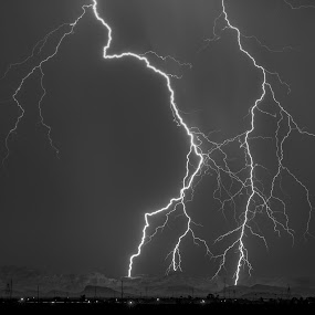 The Perfect Strike on the Superstitions by Bryan Snider - Landscapes Weather ( mountains, lightning, monsoon, arizona monsoon, thunderstorm, superstition mountains, arizona, weather, storm, phoenix, lightning photography )