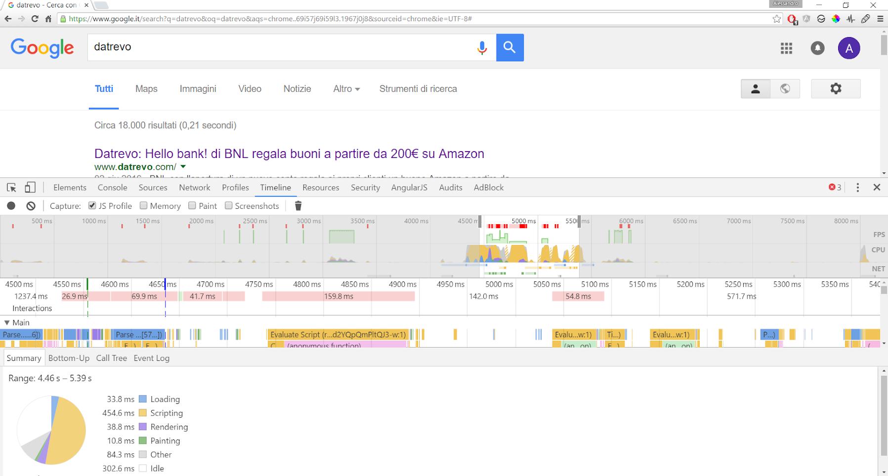 Google Developer Tools - Timeline