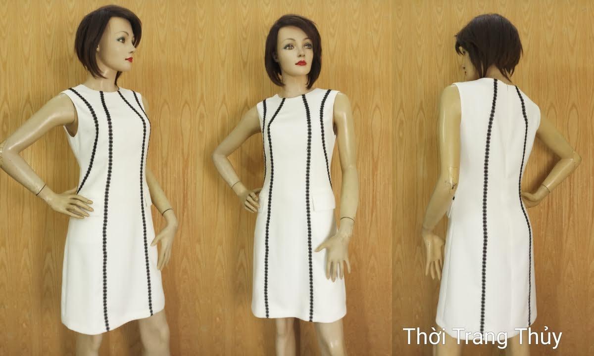 Váy suông sát nách phố ren sọc màu trắng V683 thời trang thủy hải phòng