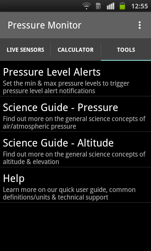 Pressure Monitor - Sensors- screenshot