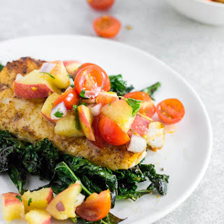 Baked Cod with Peach Tomato Salsa.