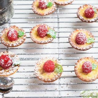 Mini Raspberry Custard Tarts.