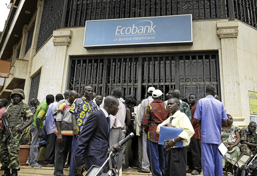An Ecobank branch in Bangui, Central African Republic. Its woes have hit Nedbank's earnings. Picture: GETTY IMAGES