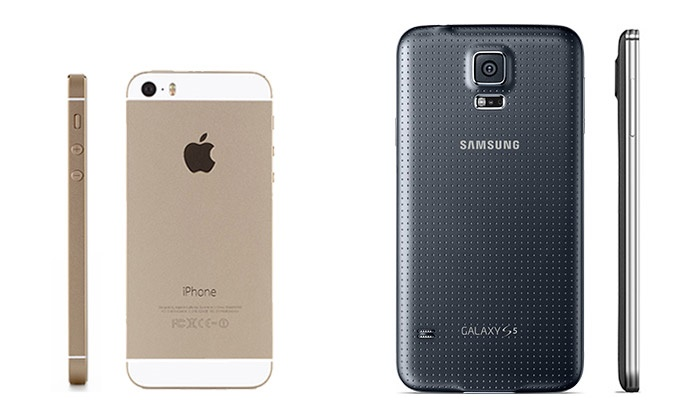 Samsung Galaxy 5S & iPhone 5 side by side, form factor comparison