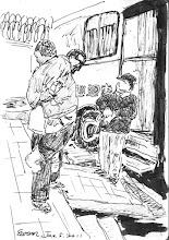 Photo: 看護與病患2011.01.05鋼筆 為了X光檢查,病舍看護將雙腿截肢的病患抱上車,只是上車後馬上又下來,無奈地說是病患沒法自行站立不能照,那車外的工作人員明知道不能照卻又不先知會,只若無其事自顧自的戴他的手套…