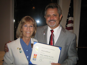 Photo: Assistant District Governor Karen Weiss presenting the PAUL HARRIS FELLOW to President Rev. Dr. Dennis Robinson! - June 8, 2012