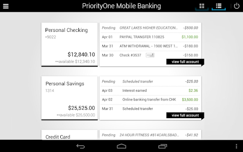 PriorityOne Mobile Banking- screenshot thumbnail