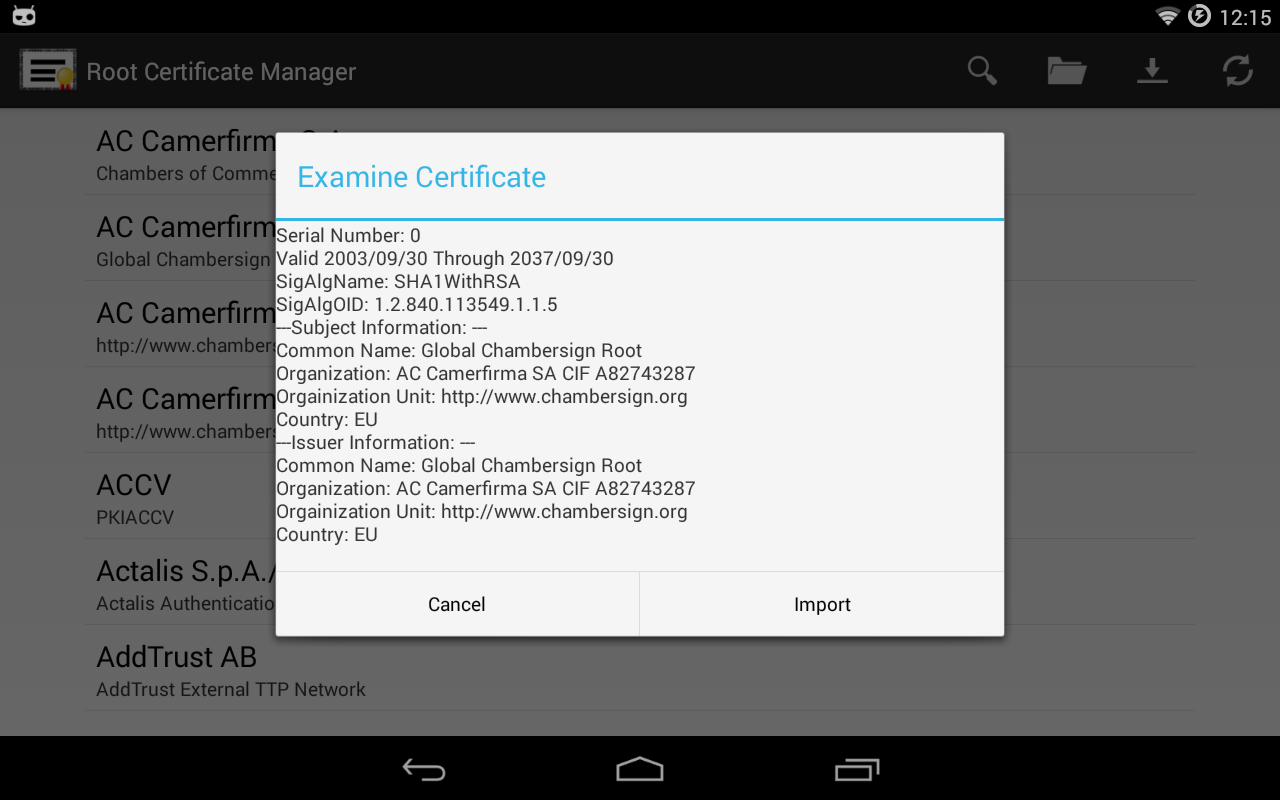 Root certificate managerroot android apps on google play root certificate managerroot screenshot xflitez Image collections