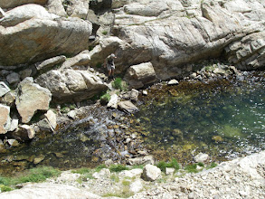 Photo: Dave beside the outlet stream of Bluebird Lake.