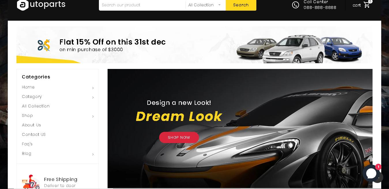 Auto parts shopify theme mega shop