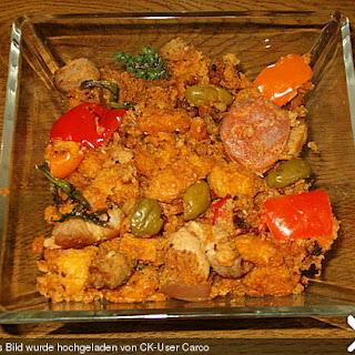 Migas Brotwürfel mit Schweinebauch und Chorizo