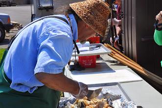 Photo: Don  cutting salmon