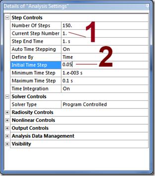 ANSYS - необходимо сначала изменить номер настраиваемого шага нагружения, а затем изменить нужные настройки