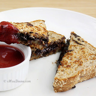 Grilled Cheese and Dark Chocolate Sandwich with Strawberry Dipping Sauce