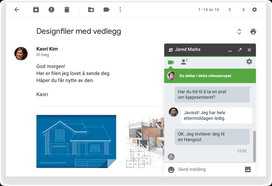 E-postsamtaler med noe ekstra – bruk chat og video