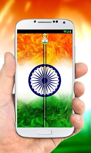India Flag Zipper Lock Screen