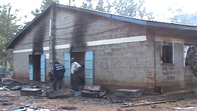 Property worth millions of shillings was reduced to ashes after an unknown arsonist set two dormitories on fire at Njega Boys High school in Kirinyaga County.