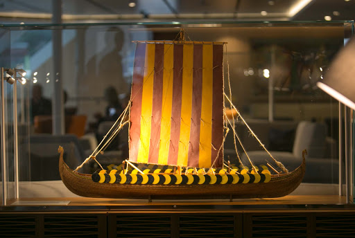 Viking-ship-model.jpg - Model of Viking ship from the Middle Ages in the Explorers Lounge on Viking Sun.