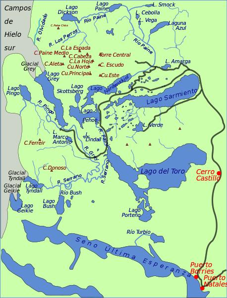 Mapa del Parque Nacional Torres del Paine