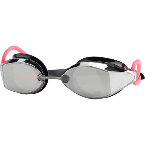 TYR Tracer X Racing Nano Mirrored Goggle: Black/Silver Frame/Pink Gasket/Silver Metallic Mirrored Lens