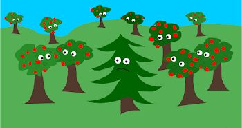 Firry Tree and Apple Trees