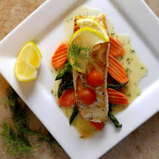 Pan Seared Halibut with a Butter Dill Sauce.