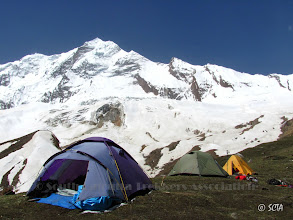 Photo: Camp-I (15,438 ft) on a green patch just before the Changuch ice-field