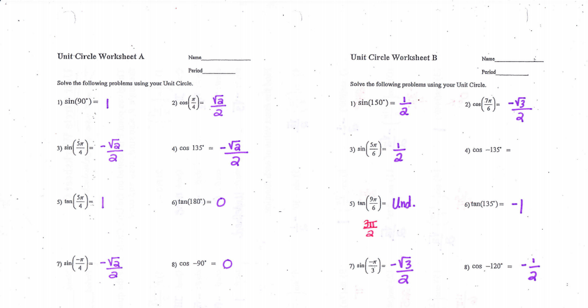 Printables. Unit Circle Worksheet. Happywheelsfreak