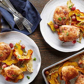 Sheet-Pan Cumin Chicken Thighs With Squash, Fennel, and Grapes