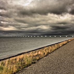 Bridge by Justus Böttcher - Buildings & Architecture Bridges & Suspended Structures ( clouds, layers, sea, bridge, zeeland )
