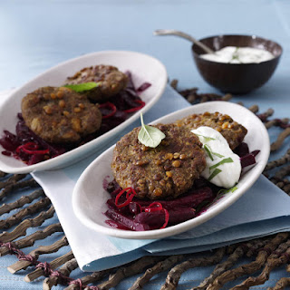Lentil Burgers with Braised Beets and Yogurt Sauce.