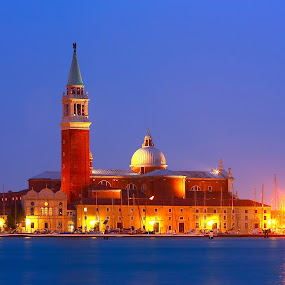Chiesa de San Giorgio Maggiore, Venice by Kristelle Matthew - Buildings & Architecture Places of Worship ( water, sky, church, blue, colors, venice, yellow, light, photography, vinbc,  )