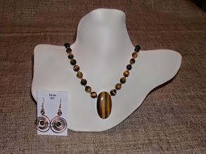 Photo: <BEREHYNYA> {Great Goddess Protectress} unique one-of-a-kind statement jewellery by Luba Bilash ART & ADORNMENT  Tiger eye, 14K gold vermeil SOLD/ПРОДАНИЙ