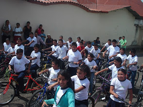 Photo: Students receiving bikes